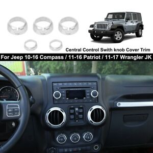 Black Air Conditioner /& Radio Switch Cover Ring Trim For Jeep Wrangler JK 11-18