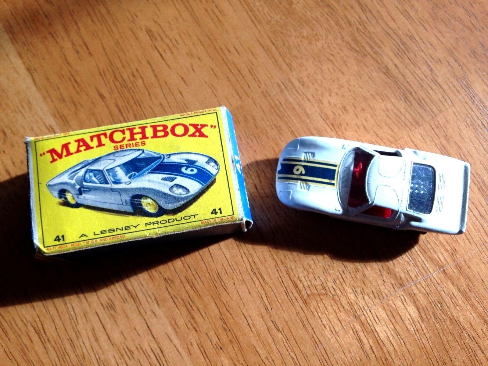 marcas de diseñadores baratos Lesney Matchbox 1965 Ford Gt Race Coche 41 41 41 Excelente pintura ORIGINAL e Caja     saludable