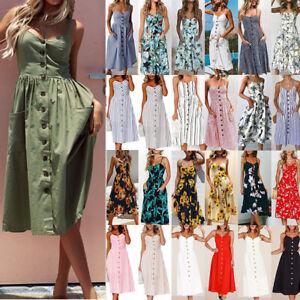 Sommer-Frauen-Boho-Urlaub-Strappy-Floral-Maxi-Strand-Sundress-Party-Langes-Kleid