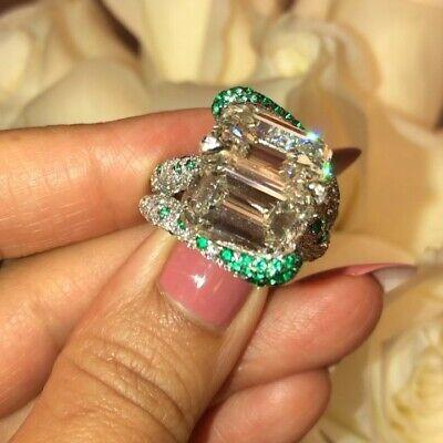16.90CT Columbian Emerald 2.10CT Cubic Zirconia Wedding Engagement 925 SS Ring