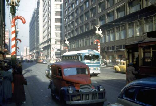 Christmas 1949 Truck Photo Chicago State St Autos Illinois