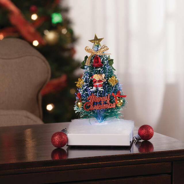 Plays 8 Christmas Carols Fiber Optic Musical Christmas Cat Trio Tabletop Décor