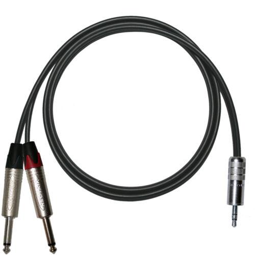 """Neutrik Splitter Lead 3.5mm Mini Jack to dual 1//4/"""" Jacks TOUR GRADE AUX Cable"""