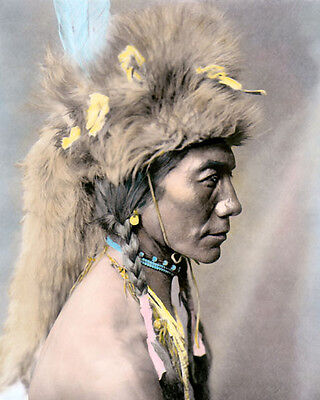 """YELLOW KIDNEY 1910 NATIVE AMERICAN INDIAN 8X10"""" HAND COLOR TINTED PHOTOGRAPH"""