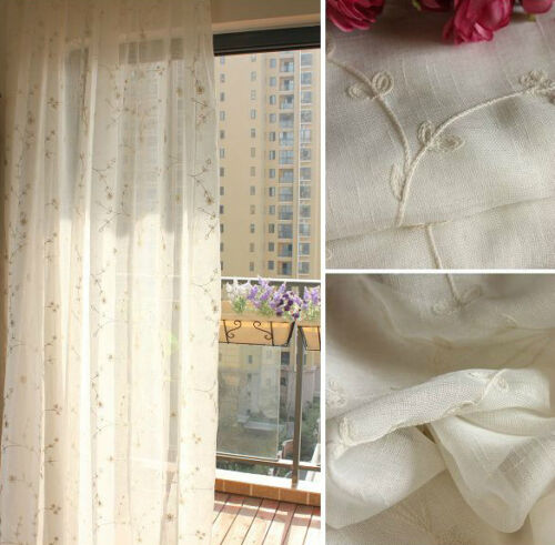 1 PC Cotton Linen Leaves  Beige Embroidery Sheer Curtain Panel Drape B003