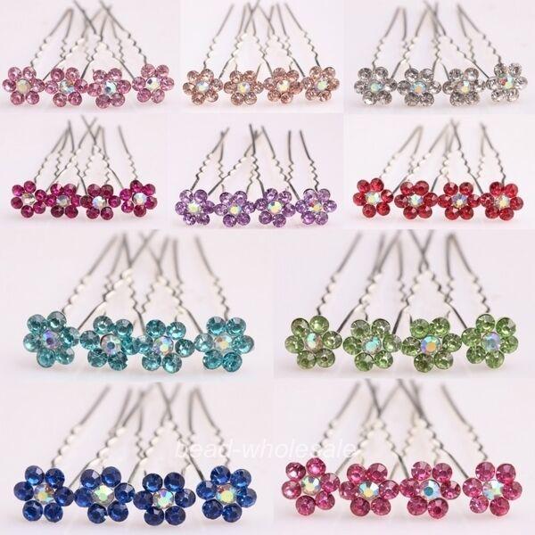 10Pc Multi Color Fashion Bridal Party Wedding Clear Crystal Rhinestone Hair Pins