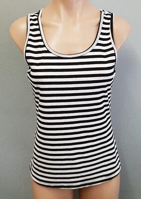 BNWT Ladies Sz 16 Cocolatte Brand Black Stripe Rib Sleeveless Singlet Tank Top
