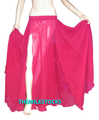 Deep Pink - TMS Slit Full Circle Skirt Belly Dance Gypsy Troup Tribal - 25 Color