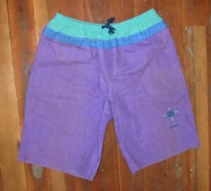 Vtg-90s-OCEAN-PACIFIC-OP-Bright-Purple-Teal-SUMMER-SHORTS-Surf-Beach-Sz-Men-039-s-XL