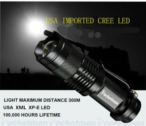 Mini Portable 8000LM Q5 LED Flashlight Zoomable Torch Light For Camping Hiking