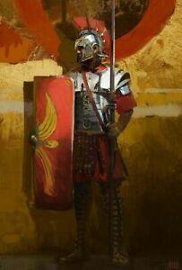 PLAQUE MÉTAL légionnaire romain   30 X 20 CM