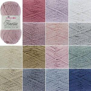 King-Cole-Finesse-Cotton-Silk-Knitting-Yarn-50g-Wool