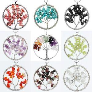 Amethyst-Garnet-Quartz-Gemstone-Tree-Of-Life-Round-Charms-Pendant-Bead-Jewelry