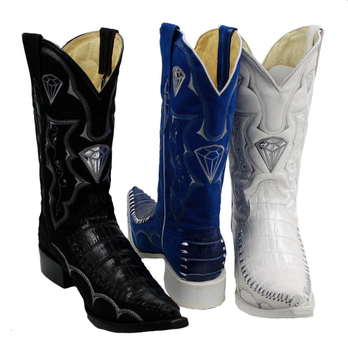 Para hombres Cuero Colors Surtidos 3x De Impresión De Cocodrilo Estilo botas Vaqueras-WD1342