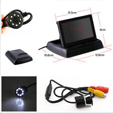 """Car Rear View 8LED Night Vision Camera &4.3"""" Flodable TFT LCD Screen Monitor Kit"""