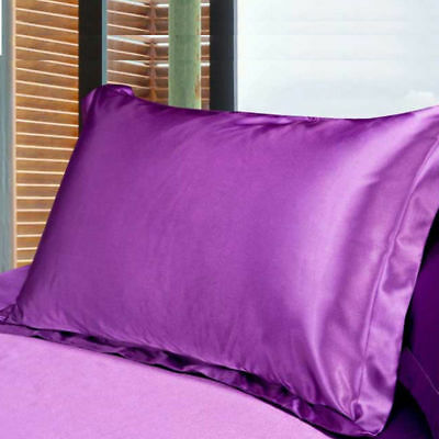 Pure Color 100% Standard Silk~y Satin Pillow Case Bedding Pillowcase Smooth Soft