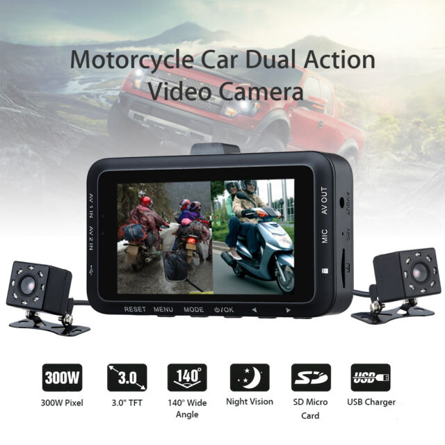"Car Bike Motorbike Motorcycle Action Camera HD DVR Front & Back 3.0"" LCD DV168"