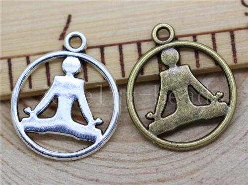 10//40//200pcs Tibetan Silver Beautiful Yoga Athletes Charms Pendant Craft 23x20mm
