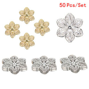 50pcs Brass Filigree Flower Pendants Flat Round Dangle Charms Findings 23.5x20mm