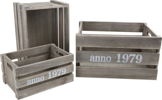 Wooden Box Shabby Chic, 3 Piece Deco Crates, Wooden Boxes, Wine Boxes
