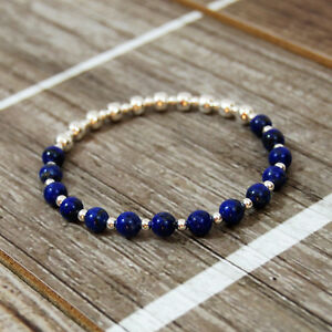 Image Is Loading Sterling Silver Stretch Bracelet With Lapis Lazuli Beads