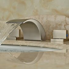 Brushed Nickel Brass Waterfall Spout Bathroom Faucet Widespread Sink
