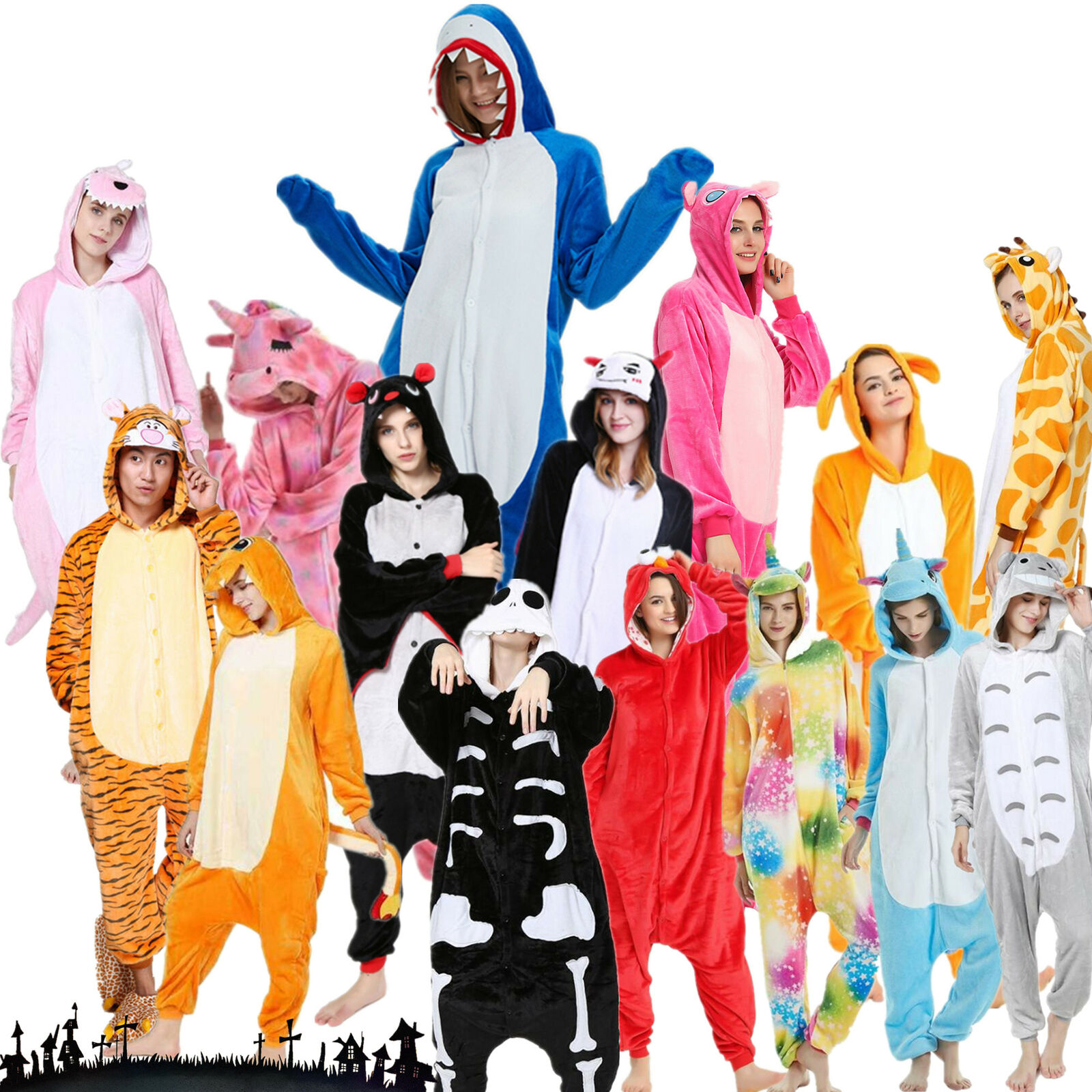 Pigiama Kigurumi Vestito Costume Adulti Halloween Carnevale Travestimento It 5