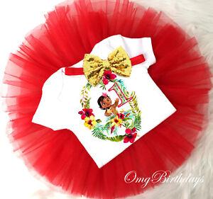 Baby Moana Princess Red Girl Gold 1st First Birthday Tutu Outfit Shirt Set sq