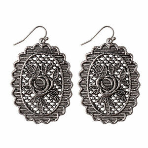 Women-039-s-Vintage-Bohemian-Boho-Style-Antique-Silver-Carved-Flower-Dangle-Earrings