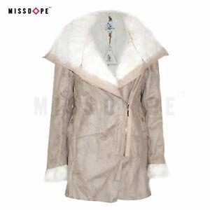 Détails sur Nouveau BEIGE DAIM FEMME manteau de fourrure Parka Zip à Capuche D'Hiver Long Trench femme long afficher le titre d'origine