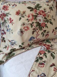 Waverly-Luxury-2-Pillow-Shams-Floral-Cotton-Blue-Bird-Floral-Braid-Trim