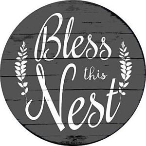 Bless-this-Nest-12-034-Round-Metal-Sign-Novelty-Retro-Home-Wall-Decor