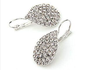 Rhinestone-Teardrop-Silver-Plated-Drop-Dangle-Earrings-Fashion-Jewelry-1-Pair