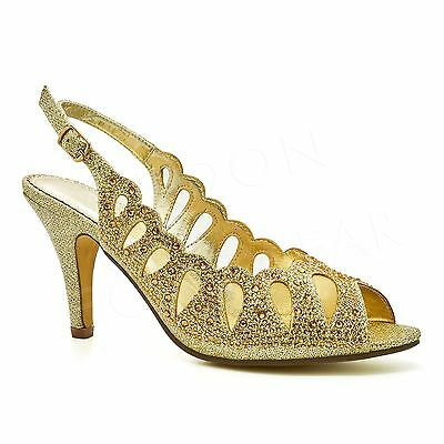 Womens Diamante Bridal Heels Sandals Ladies Peep Toe Shoes Evening Party Prom UK