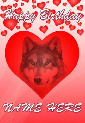 Wolf Birthday Personalised Greeting Card HM226 Mum Dad Wife Husband