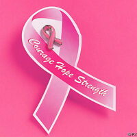 12 Pink Breast Cancer Awareness Metal Glitter Pins