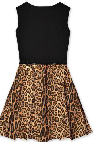Girls Leopard Animal Print Skater Dress with Belt 7 8 9 10 11 12 13 years UK SEL