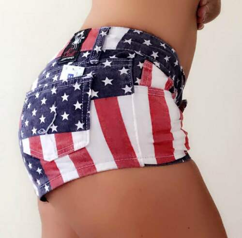 B CUTE hotpants heisse stylische trendy Jeans Stars and Stripes Amerika Flag usa