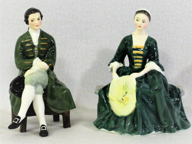 2 Royal Doulton England Bone China Figurine Lady & Gentleman from Williamsburg