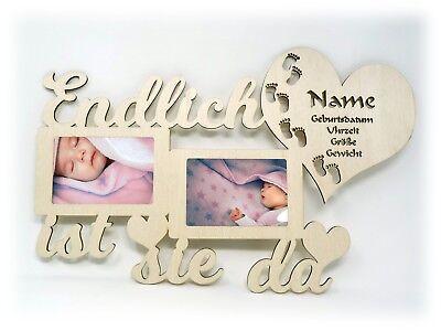 Baby Bilderrahmen Teddy Bär mit Namen zur Geburt Geschenke Baby Mädchen Junge