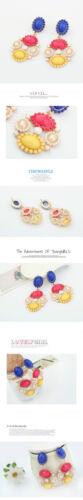 Ohrringe` Ohren Clips Golden Kerzenständer Mini Perle Mehrfarbig Blau Gelb A15