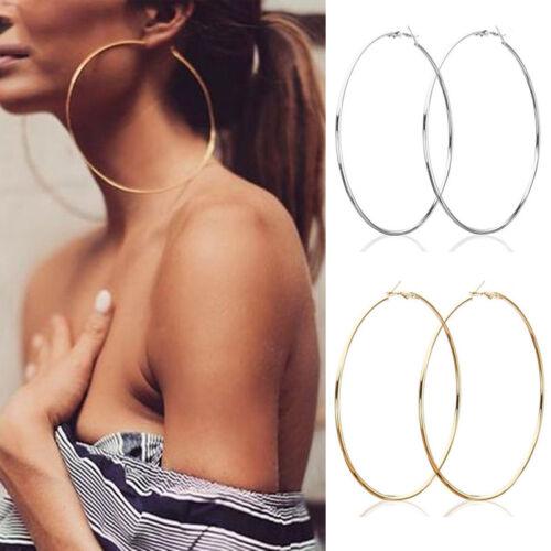2.5-10cm Women Statement Fashion Jewelry Big Round Drop Dangle Hoop Earrings