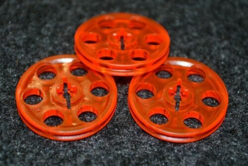 3x3 Translucent Orange 3 Red Round Technic Pully Bricks  ~  Lego  ~ NEW ~