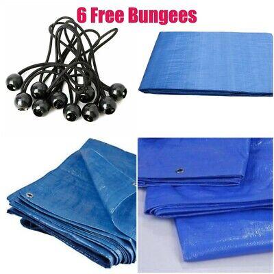 6 x FREE BUNGEES BLUE 50G//SQM  REINFORCED TARPAULIN MESH WATERPROOF COVER