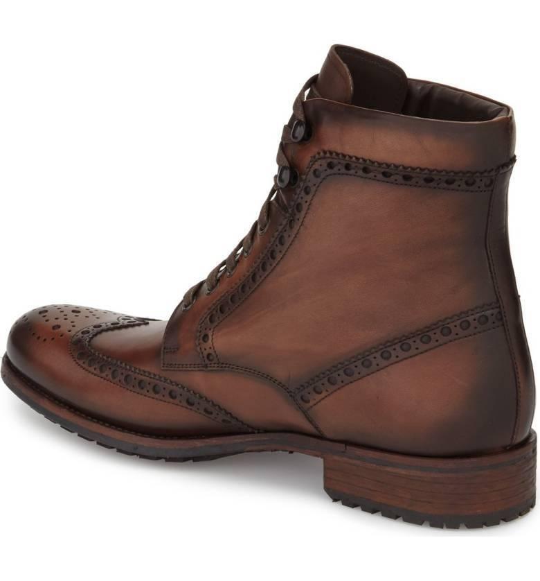 Hecho a mano Hombres Wing Tip Formales Con bota Cordones Bota, tobillo bota Con de cuero marrón de hombre 03b85d