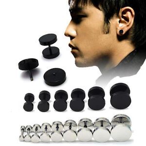 1Pair-2PCS-Unisex-Mens-Barbell-Punk-Gothic-Stainless-Steel-Ear-Studs-EarrinPYB
