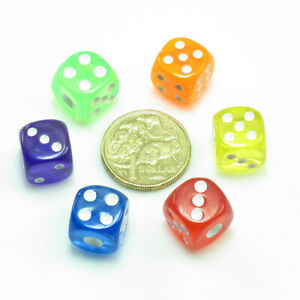 6-Colours-Transparent-6-Sided-D6-Cube-Dice-14mm-Games-Accessories-Gift