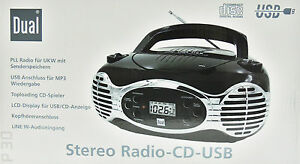 CD-Player-USB-Retro-Stereo-Radio-Portable-Dual-P30-Tragbarer-Boombox-Schwarz