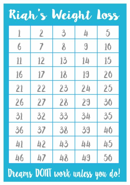 a4 personalised weight loss chart - 50 lbs