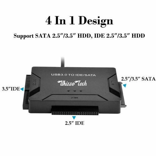 "USB 3.0 to IDE//SATA Converter Adapter with Power Switch for 2.5/""//3.5/"" SATA//IDE"